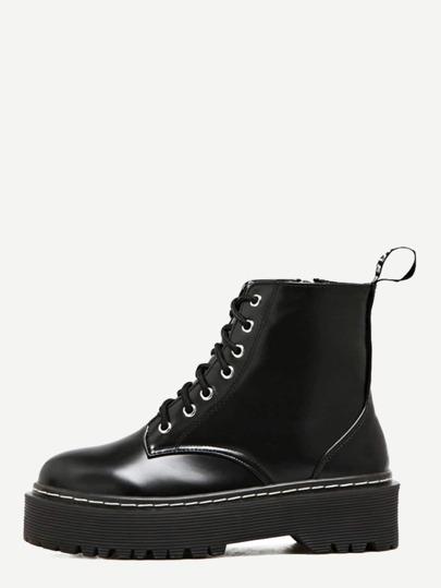 Bottes de Martin en similicuir avec zip et lacet - noir