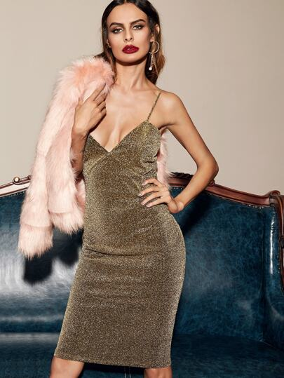 Gold Glitter Deep V Neck Cami Sheath Dress