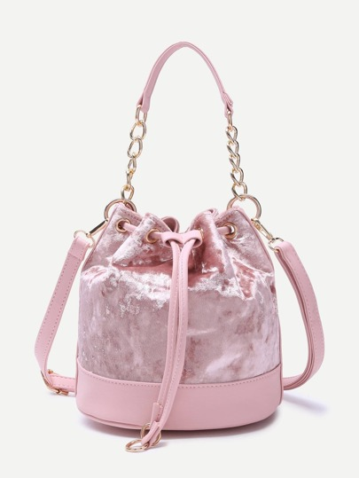 Pink PU Trim Drawstring Velvet Bucket Bag