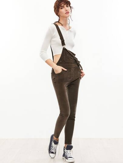 Skinny Overall Jeans -braun