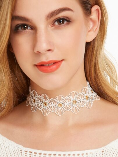 White Eyelet Lace Wide Choker