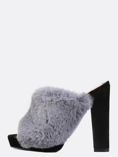 Faux Fur Velvet Mule Heels GREY