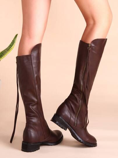 коричневые кожаный сапоги