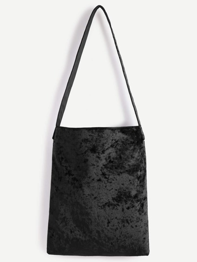Black Velvet Plain Shoulder Bag