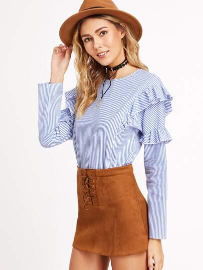 Rüschen Bluse mit Streifen S´Keyhole Hinten-blau und weiß