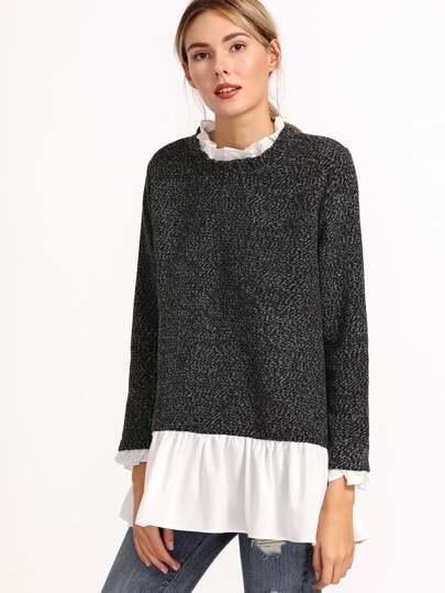 Pullover mit Reißverschluss Hinten Kontrast Rüschen Kragen-grau