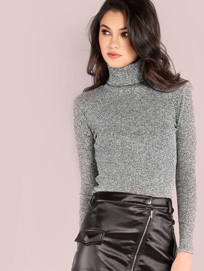 Long Sleeve Rib Knit Turtleneck Top GREY