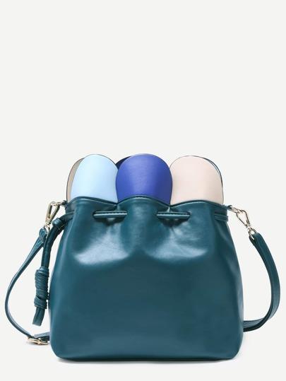 Green Petal Wrap Drawstring Bucket Bag