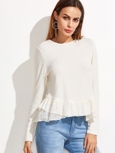 T-shirt ouillet en gradins broderie de ruché élancé -blanc