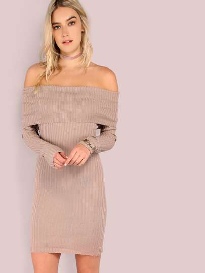 Fold Over Open Shoulder Sleeved Rib Knit Dress TAUPE