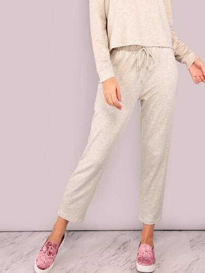 Lightweight Drawstring Pants BEIGE