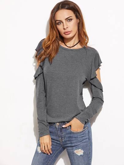 Open Shoulder Ruffle T-shirt