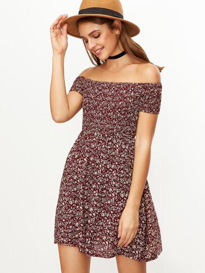 Burgundy Floral Print Off The Shoulder Flare Dress
