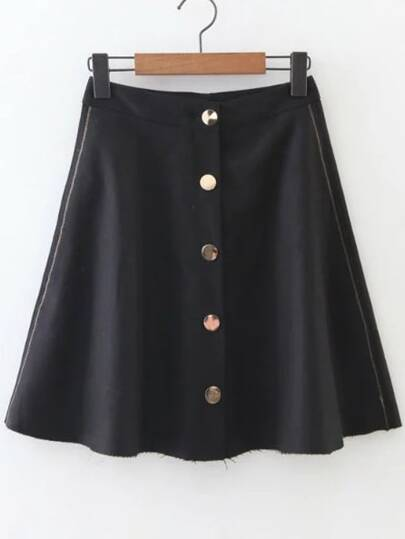 Black Button Up A Line Skirt