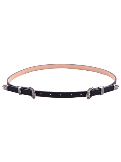Black Small Double Buckle Faux Leather Belt