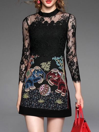 Black Sheer Embroidered Contrast Lace Dress