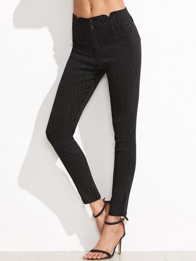 Black Pinstripes Skinny Ankle Pants