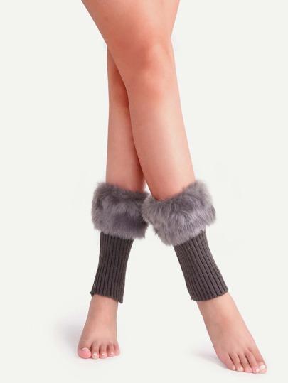 Dark Grey Fur Cuff Ribbed Knit Leg Warmers