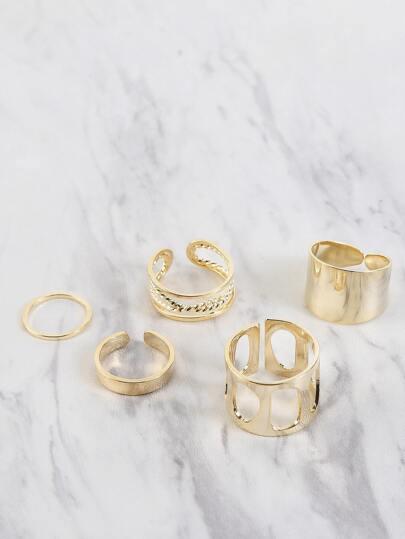 Metallic Cut Out Ring Set GOLD