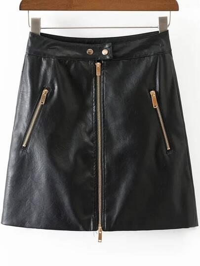 Jupe en cuir PU avec zip - noir