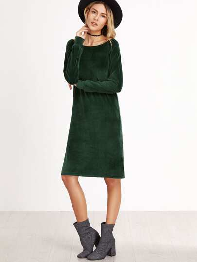 Vestito Maniche Lunghe Spacco Laterale Di Velluto - Verde Scuro