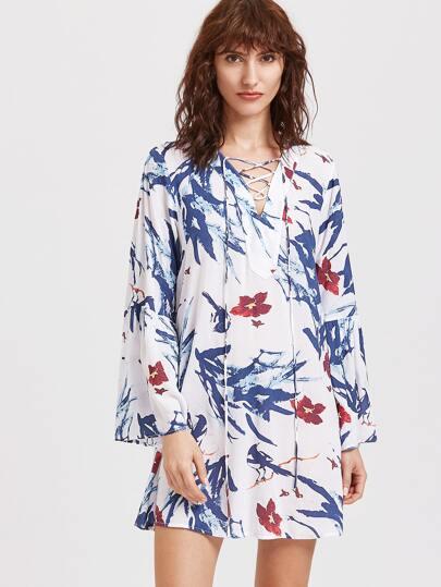 Robe imprimé floral à lacet à col V tunic -multicolore