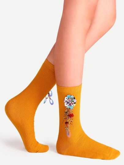 Orange Plain Socks With Handmade Beaded Floral Pendants