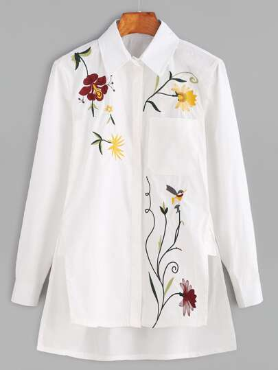 White Botanical Embroidered Hidden Button High Low Blouse