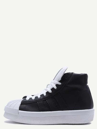Chaussures plates en cuir PU avec lacet - noir