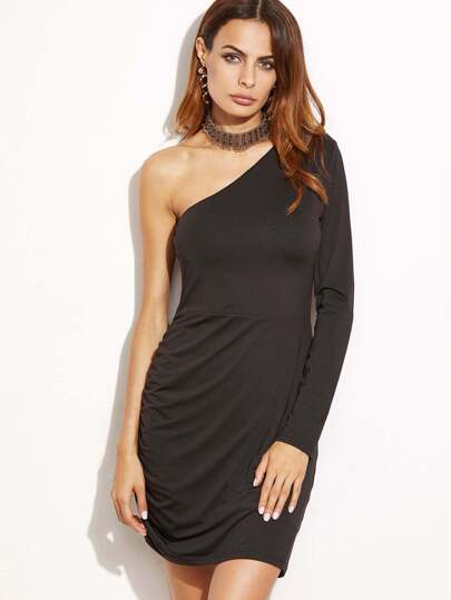 Black One Shoulder Shirred Side Bodycon Dress