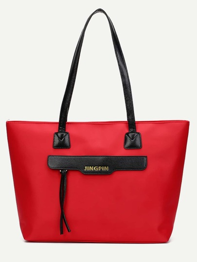 Red Zip Front Nylon Tote Bag