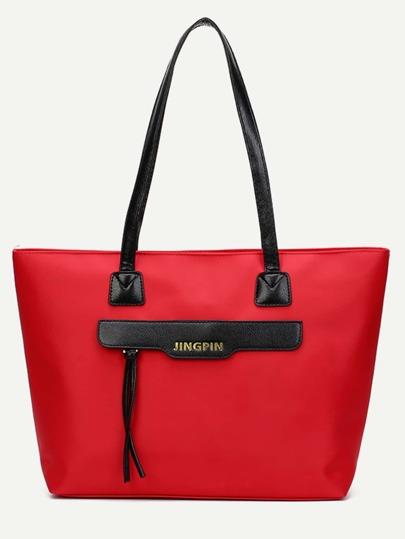 sac à main en nylon avec zip rouge