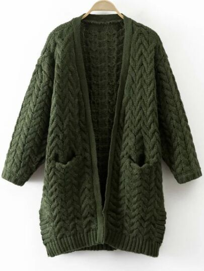 Army Green Cable Knit Side Slit Sweater Coat With Pocket