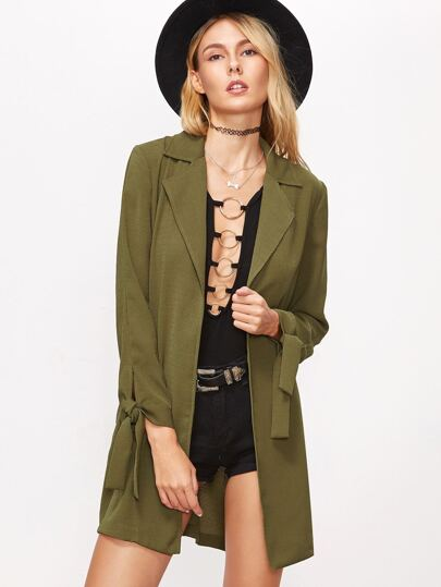 Mantel mit Kerb-Kragen One Knopf Schleife am Ärmel-oliv grün