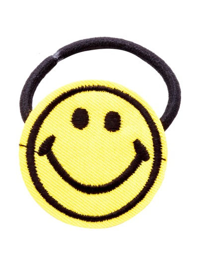 Yellow Embroidered Smiley Face Hair Tie