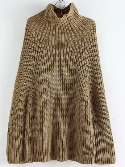 Khaki Turtleneck Oversized Poncho Sweater