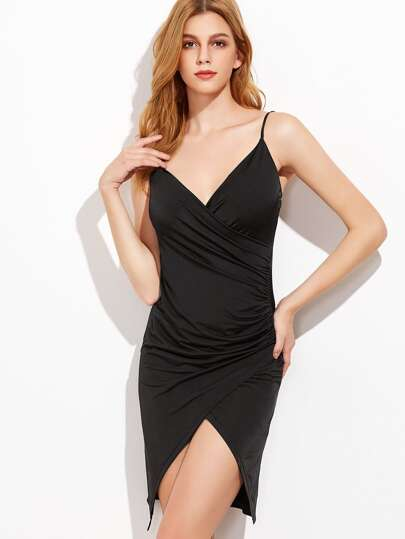 Black Ruched Wrap Cami Dress