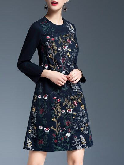 Navy Flowers Embroidered A-Line Dress