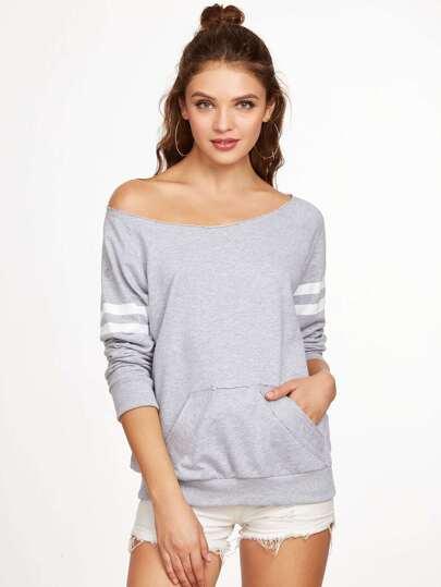 Heather Grey Boat Neck Striped Raglan Sleeve Sweatshirt