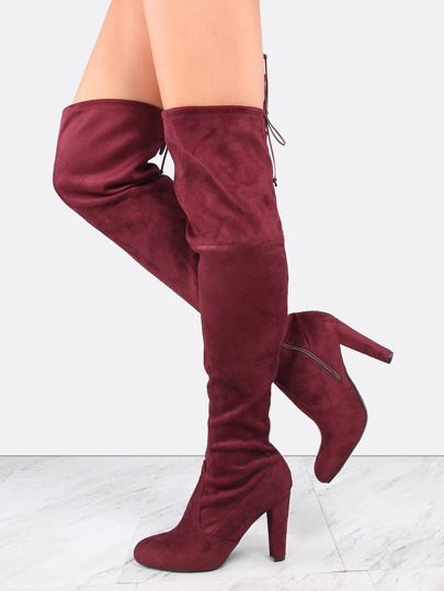 Faux Suede Tie Back Thigh Boots BURGUNDY