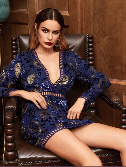 Navy Paisley And Floral Print Eyelet Lace Insert Dress