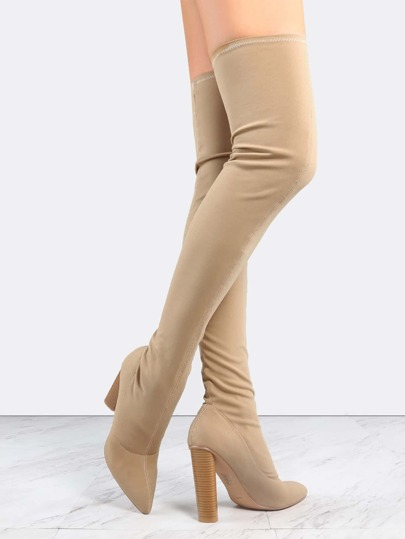 Stacked Heel Pointed Toe Thigh Boots NUDE