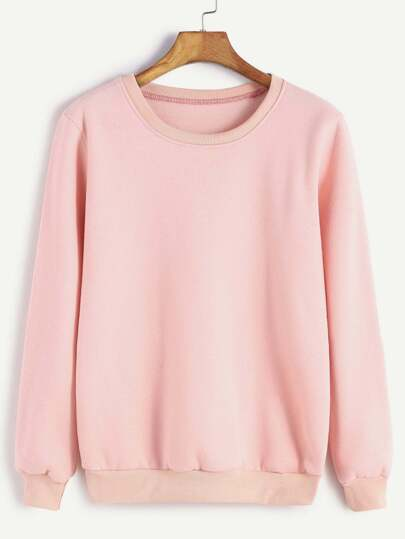 Pink Round Neck Ribbed Trim Sweatshirt