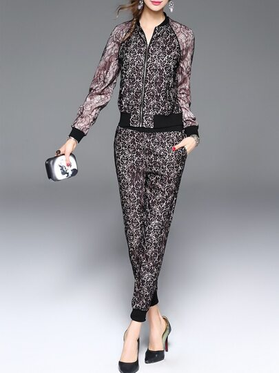 Black Lace Top With Pockets Pants