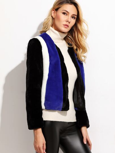 Color Block Collarless Faux Fur Coat