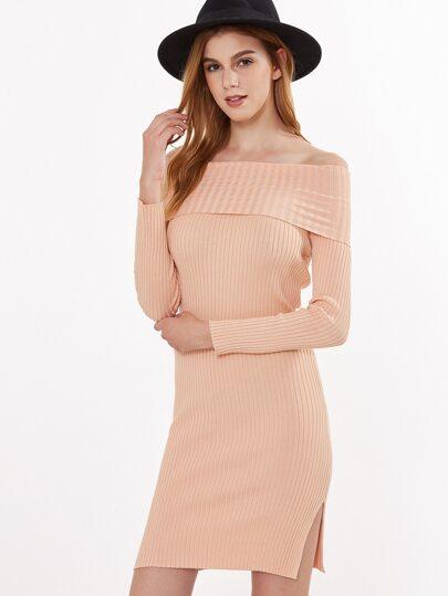 Vestido ajustado de punto con hombros al aire - rosa