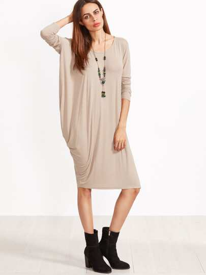 Khaki Scoop Neck Drape Side Tee Dress