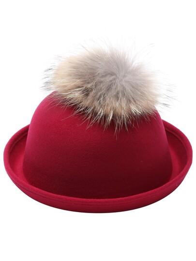 Red Pom Pom Felt Bowler Hat