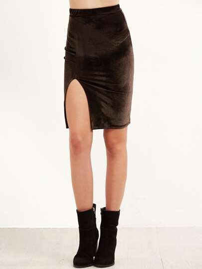 Split Front Velvet Skirt