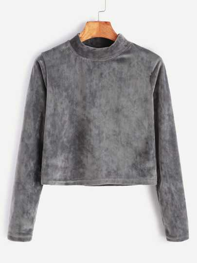 Grey Corduroy High Neck Crop T-shirt